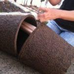 putting pots together with bars or frames inside.