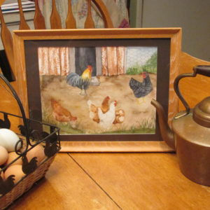 I love chickens so much I painted a picture of them. I am entering it in the State Fair of Texas!